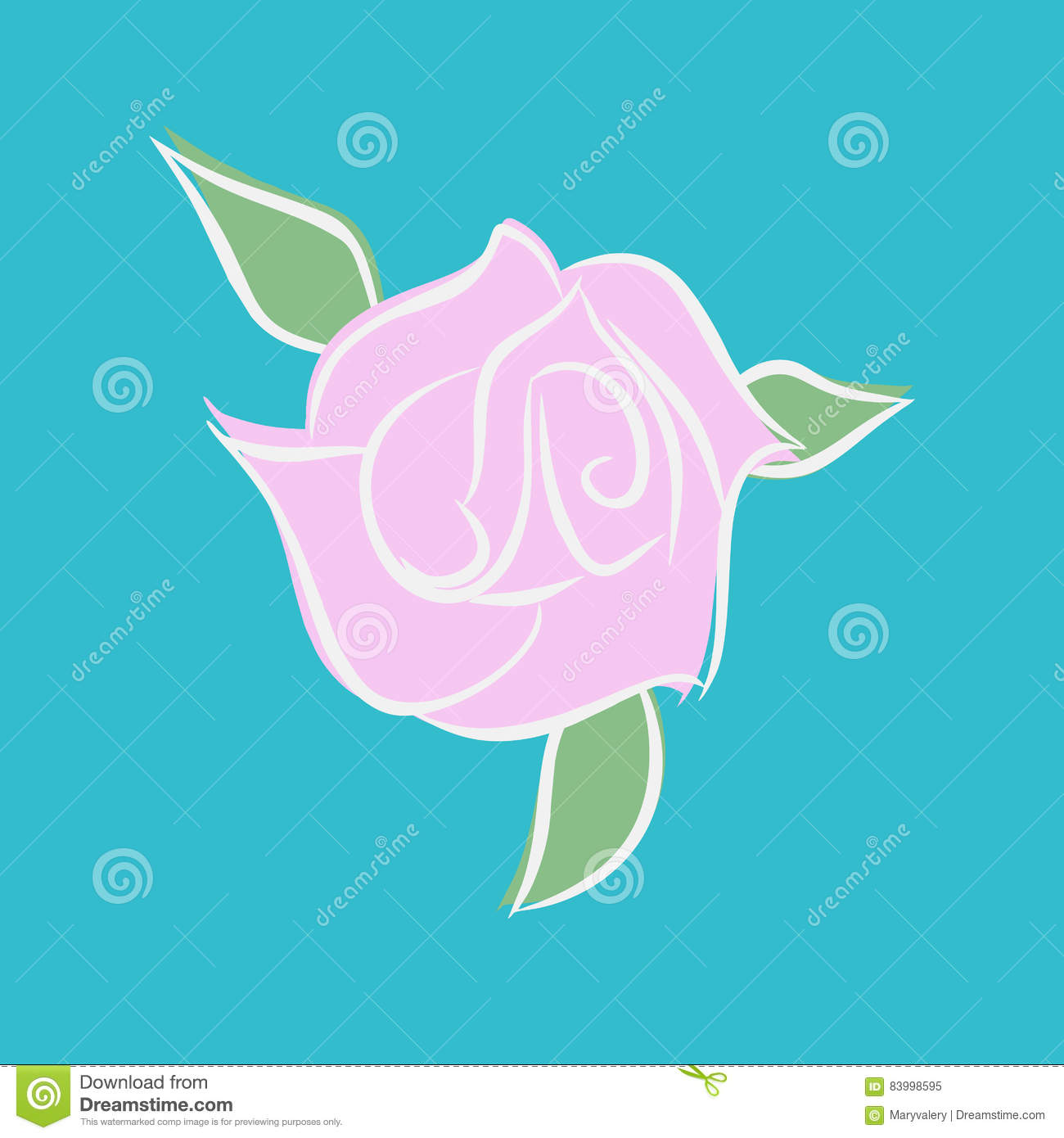 Pink rose isolated. Flower and green leaves on white background