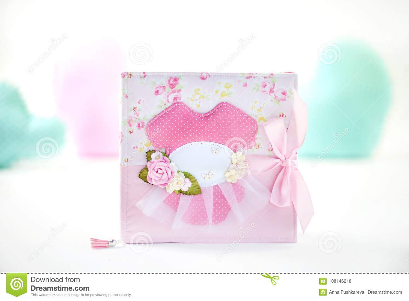 Pink With Rose Pattern Handmade Scrapbooking And Textile Decoration
