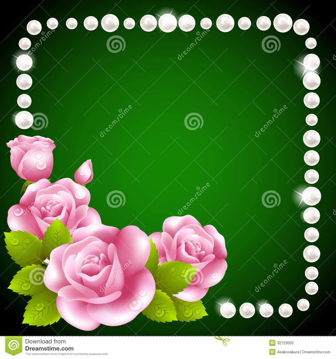 Pink Rose And Pearls Frame Stock Photos Image 32723003