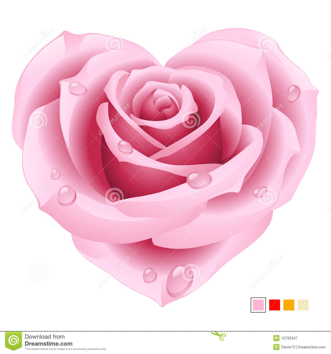 orange and pink rose frame in the shape of heart stock vector