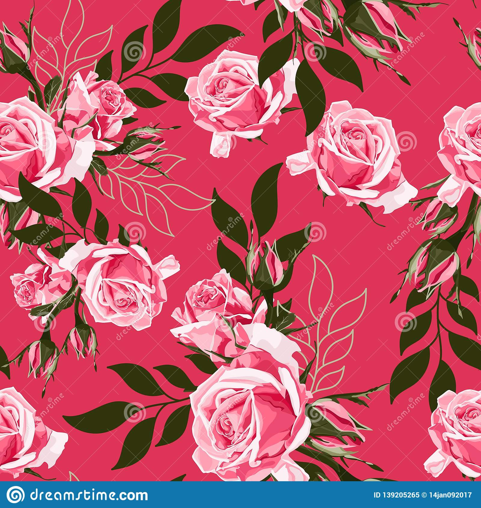 Pink Rose And Simple Leaves Floral Botanical Flower Seamless