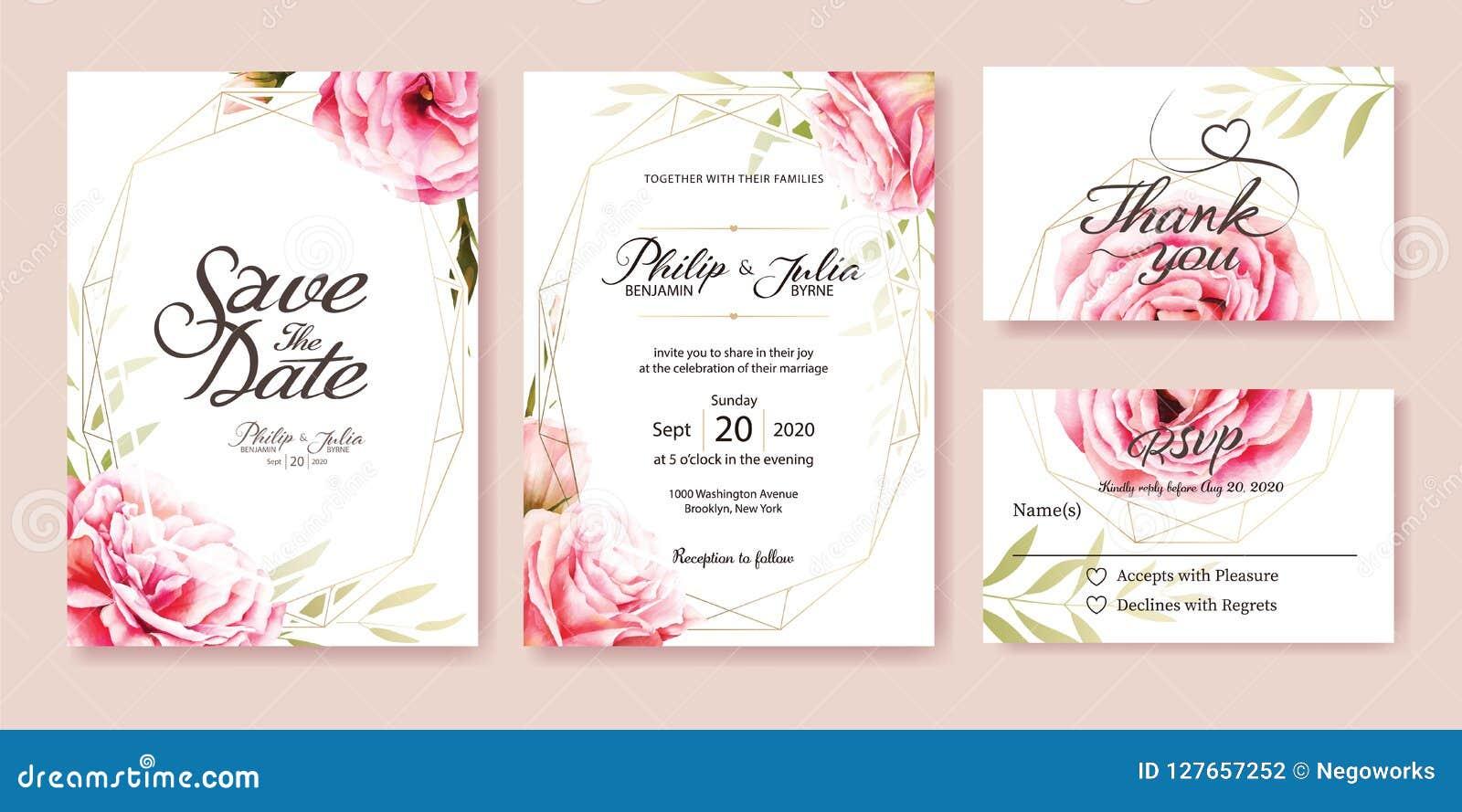 Pink rose wedding Invitation. Watercolor style. Vector.