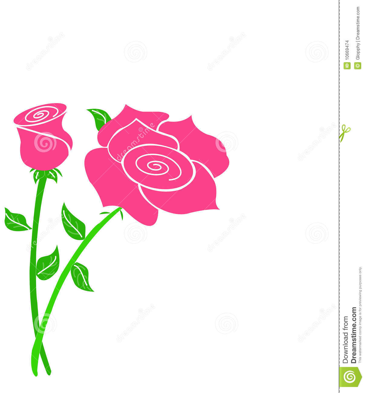 Pink Rose Drawing With Stem