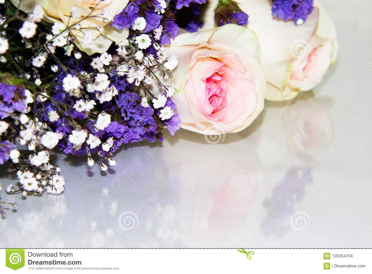 Small Purple Flowers Mixed In With White Baby S Breath And Pink Roses In A Bouquet Stock Photo Image Of Gift Anniversary 120354704