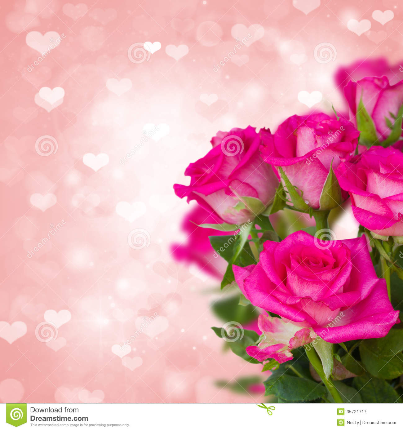 Pink roses on background with hearts royalty free stock - Pink roses and hearts wallpaper ...