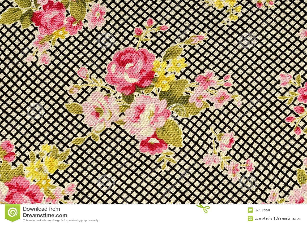 Pink Roses On Black And White Stripe Fabric Stock Photo Image Of