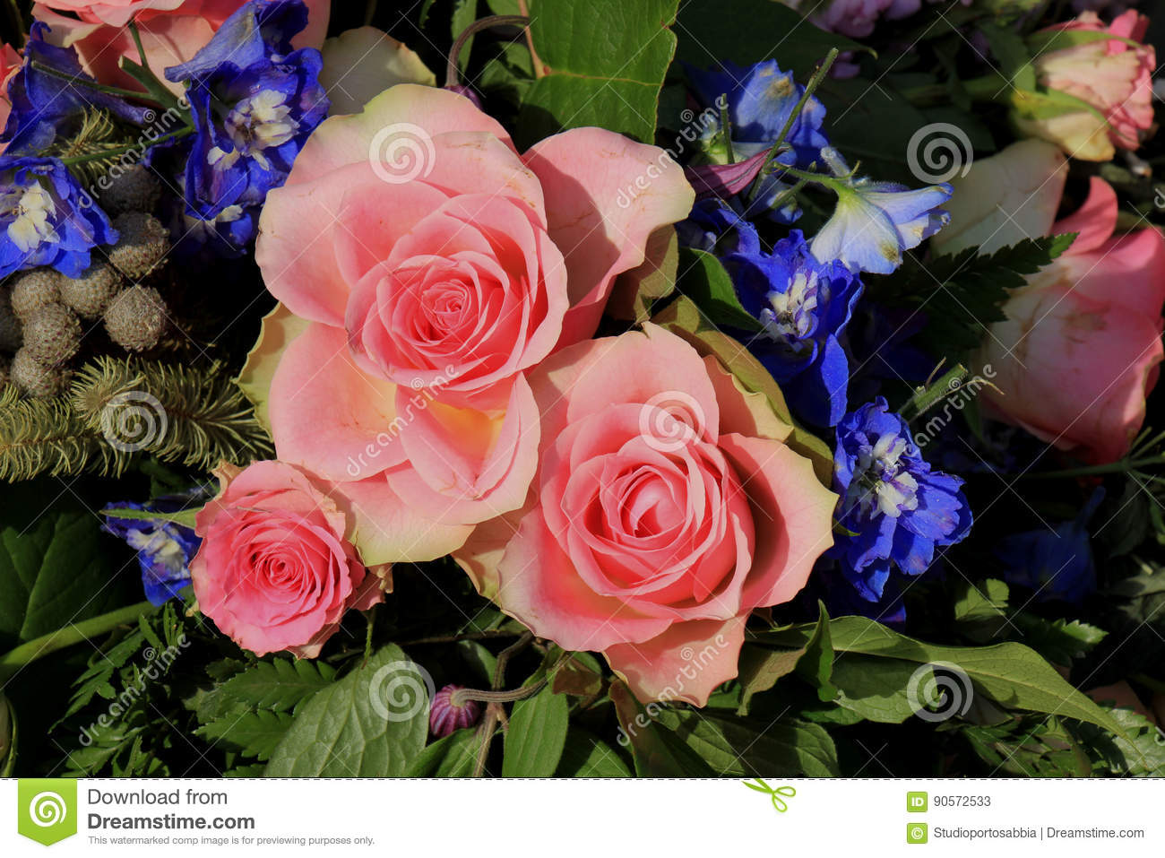 Pink Roses And Blue Larkspur Stock Image - Image of blue ...
