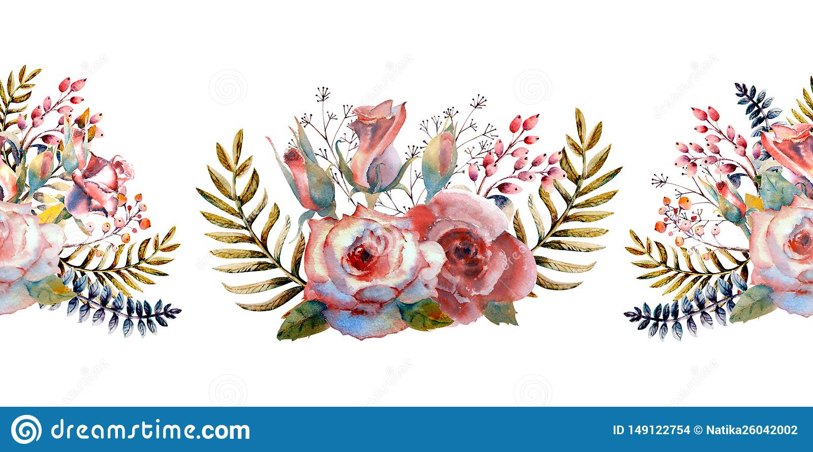 Pink roses, buds, leaves. Repeating summer horizontal border. Floral watercolor. Watercolor compositions for the design