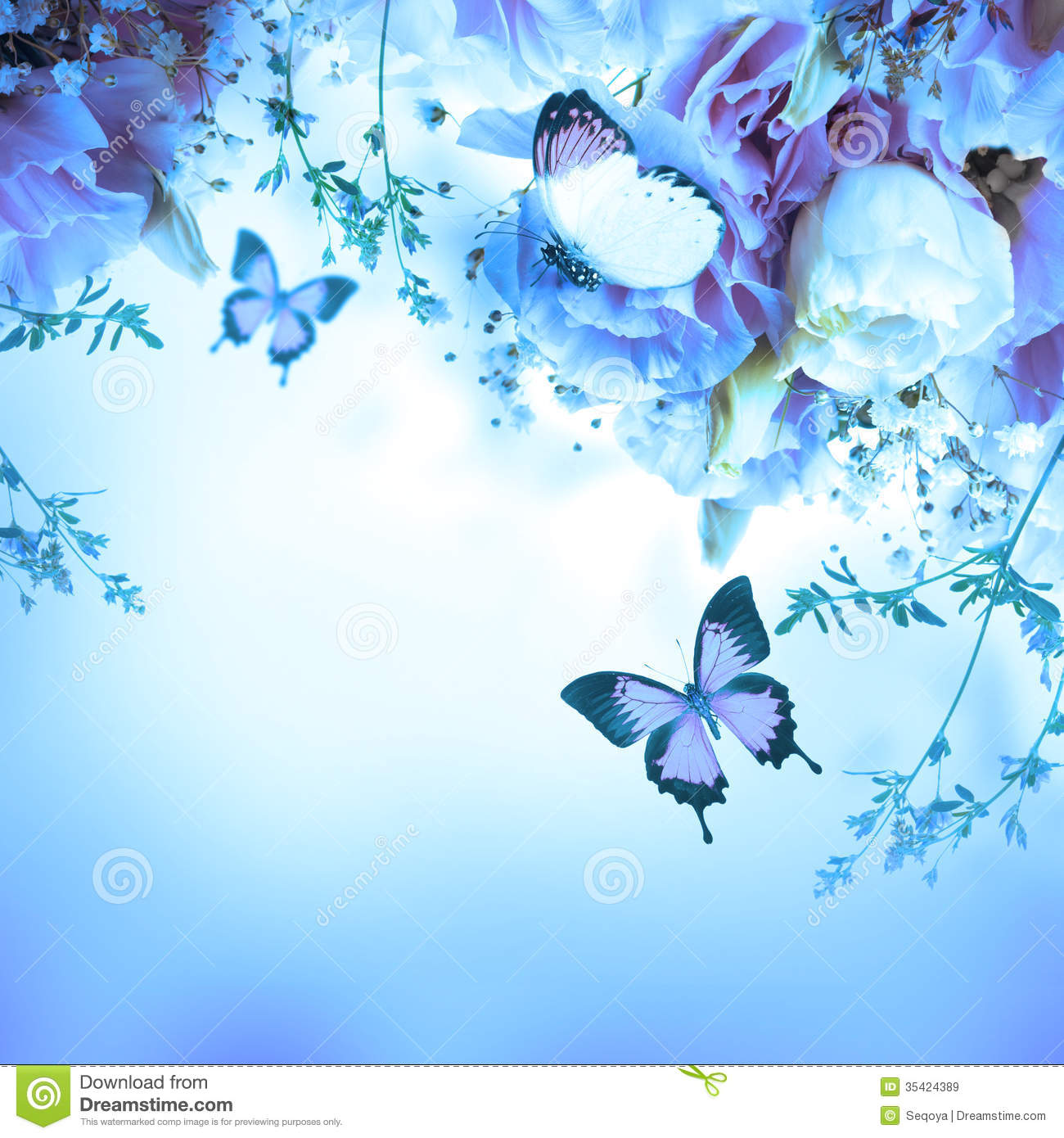 Pink Roses And Butterfly Floral Background Royalty Free