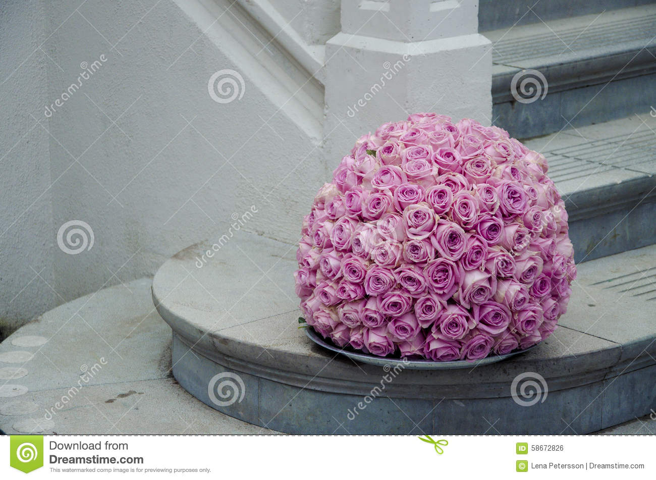 Pink Roses Centerpiece Flower Ball Stock Photo - Image of wall ...