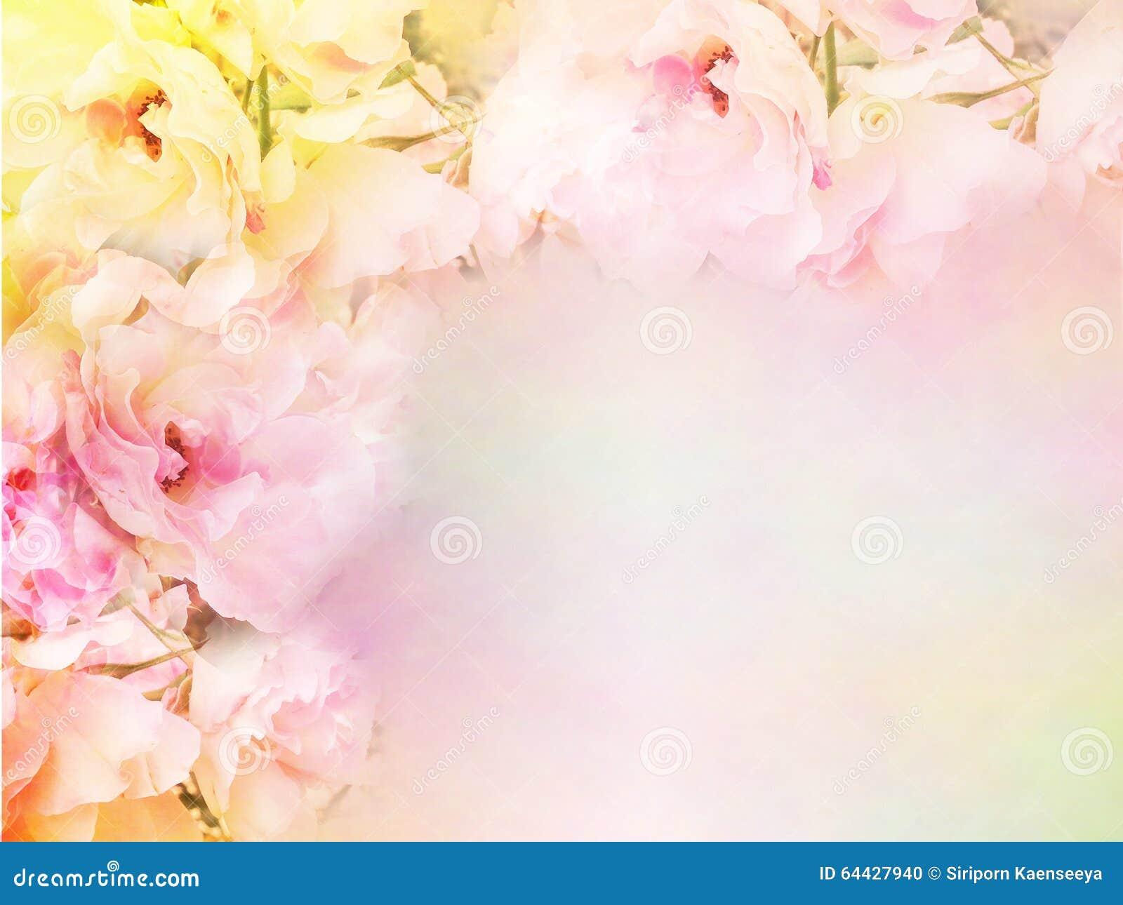 Pink Roses Flower Border And Frame In Vintage Color For Valentine