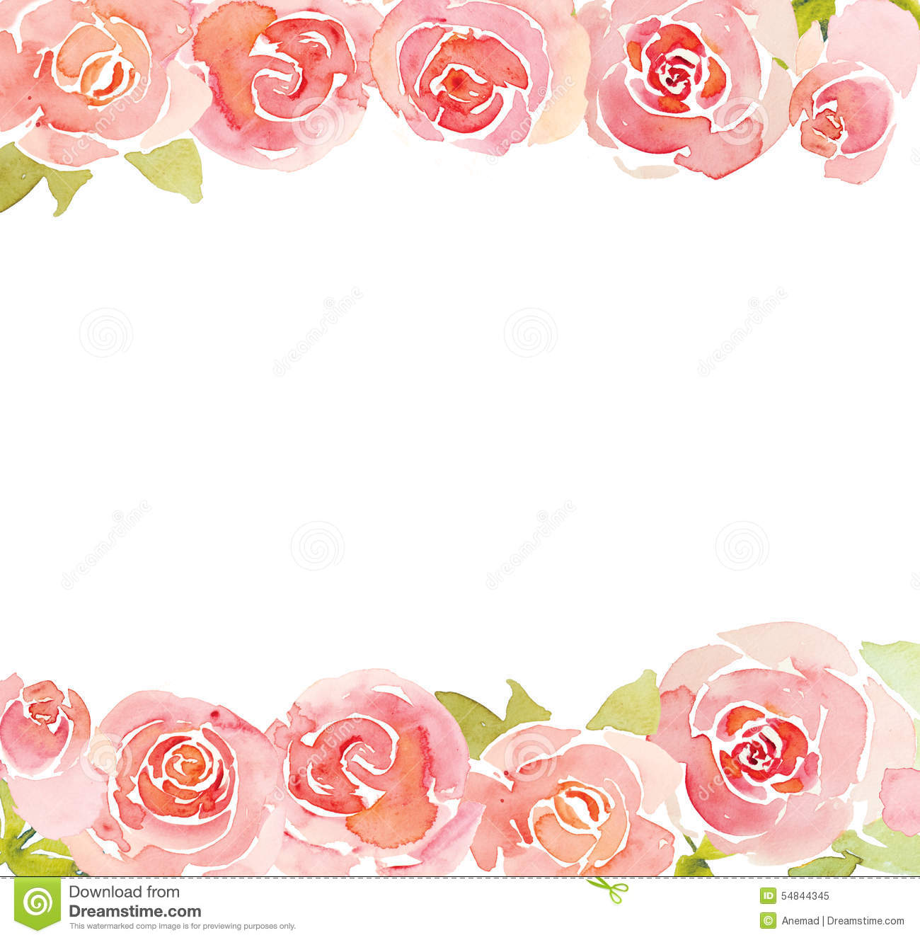 Pink Roses Flower Watercolor Background Stock Illustration