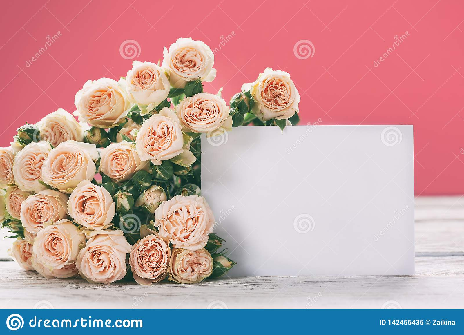 Pink Roses Flowers With Gift Card On Pink Background Holiday Celebration Concept Space For Text Stock Image Image Of Greeting Background 142455435