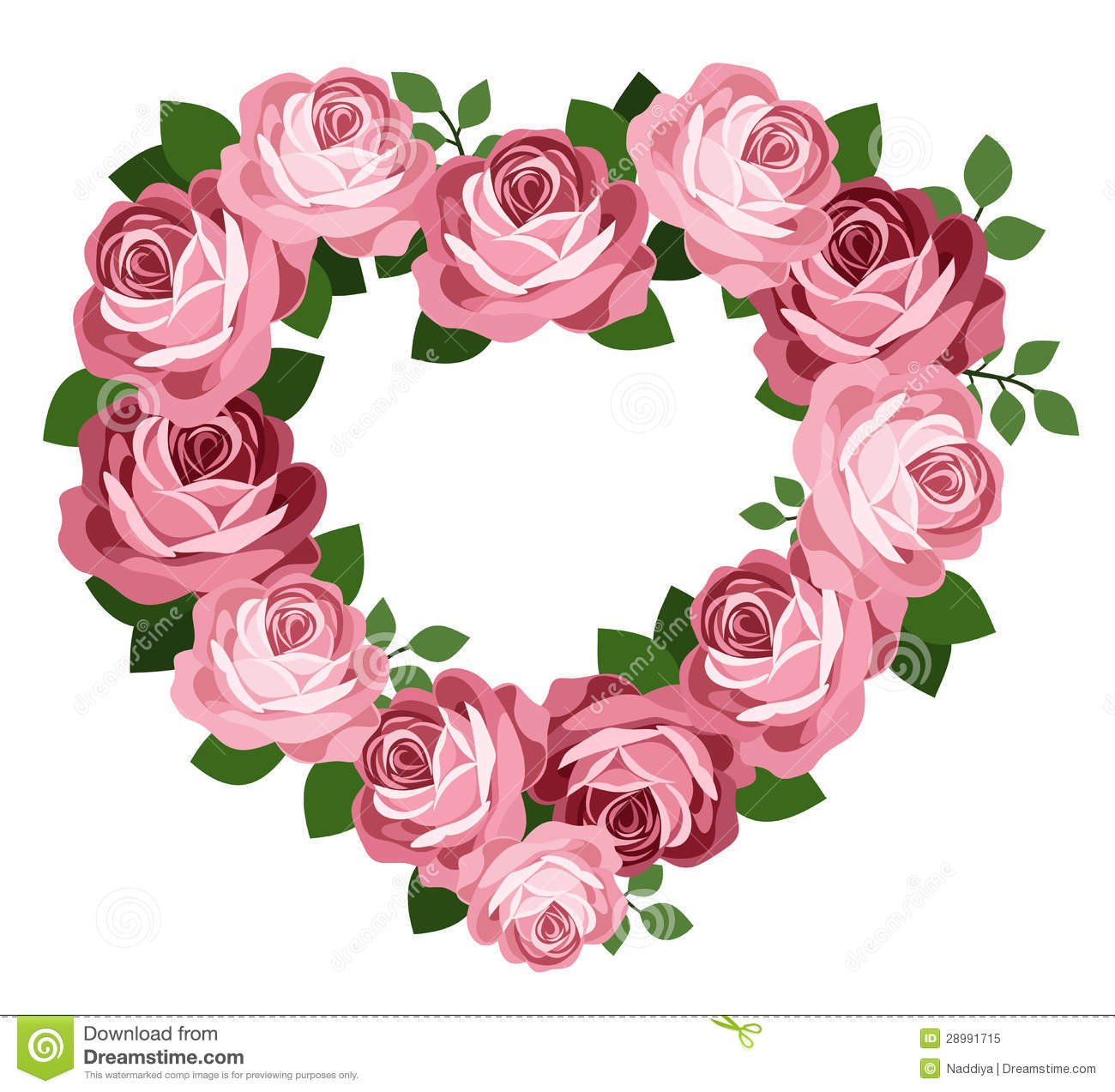 Pink Roses Heart Frame. Royalty Free Stock Photo - Image: 28991715 Pink Roses And Hearts