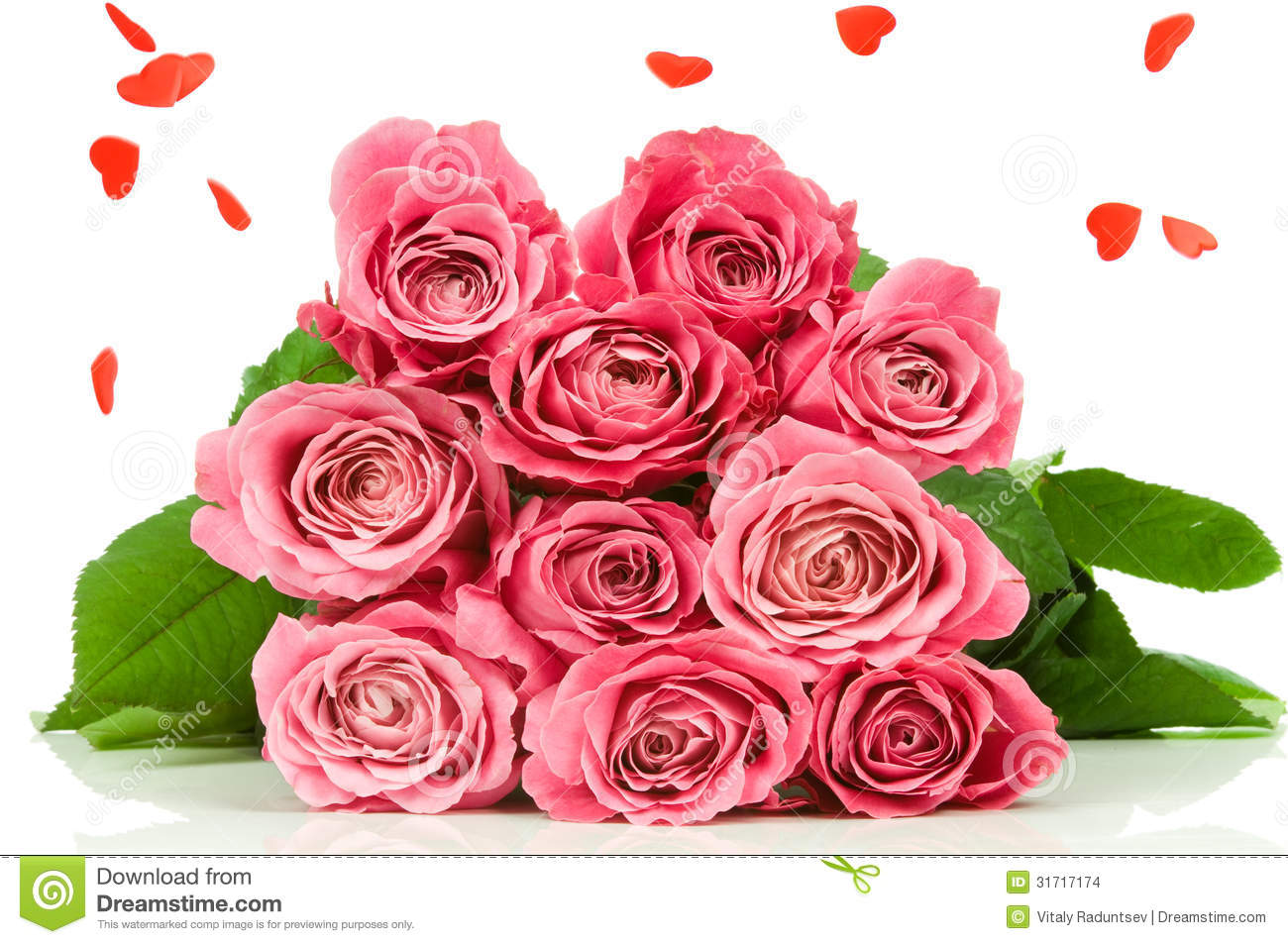 Pink Roses With Heart Rain Stock Images - Image: 31717174 Pink Roses And Hearts