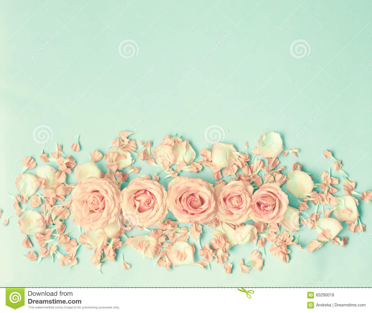 Pink Roses Over Mint Stock Photo Image Of Floral Over 83290018