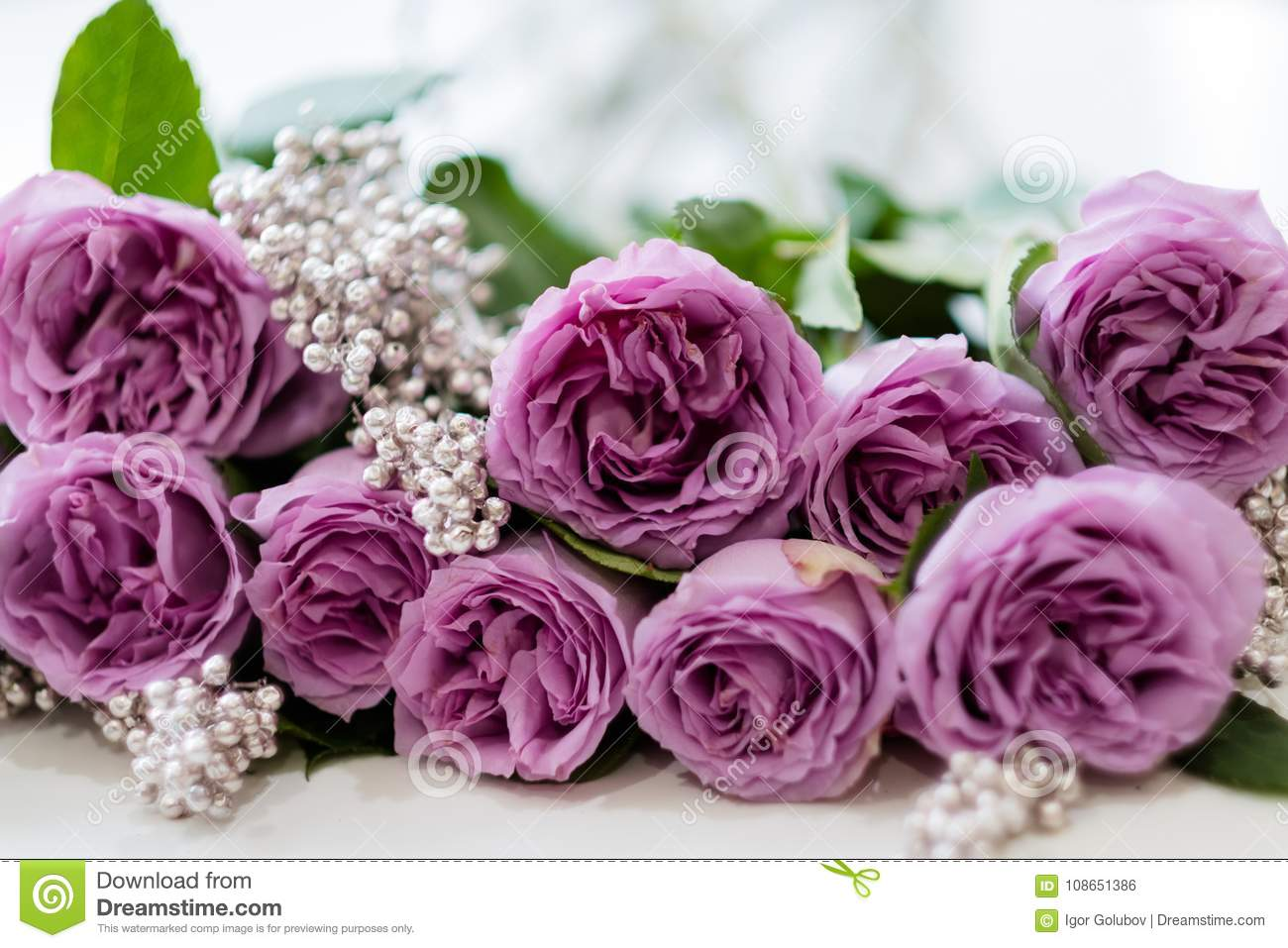 Pink Roses Anniversary Flower Arrangement Gift Stock Photo Image Of Silver Decoration 108651386