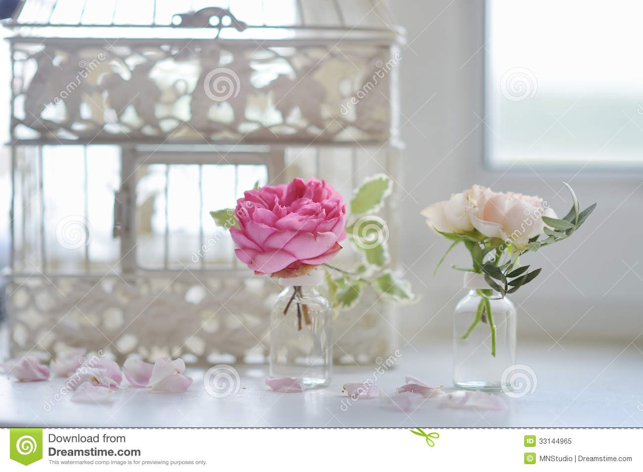 Pink Roses In Small Vases Stock Image Image Of Indoor