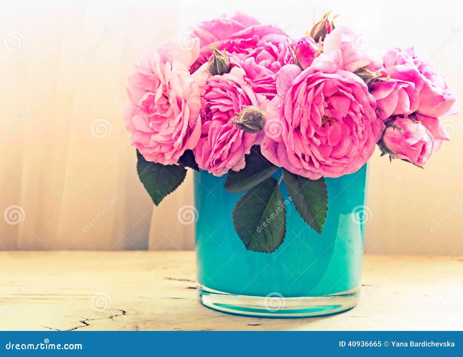 Pink roses in vase flowers indoor stock image image of retro download comp mightylinksfo