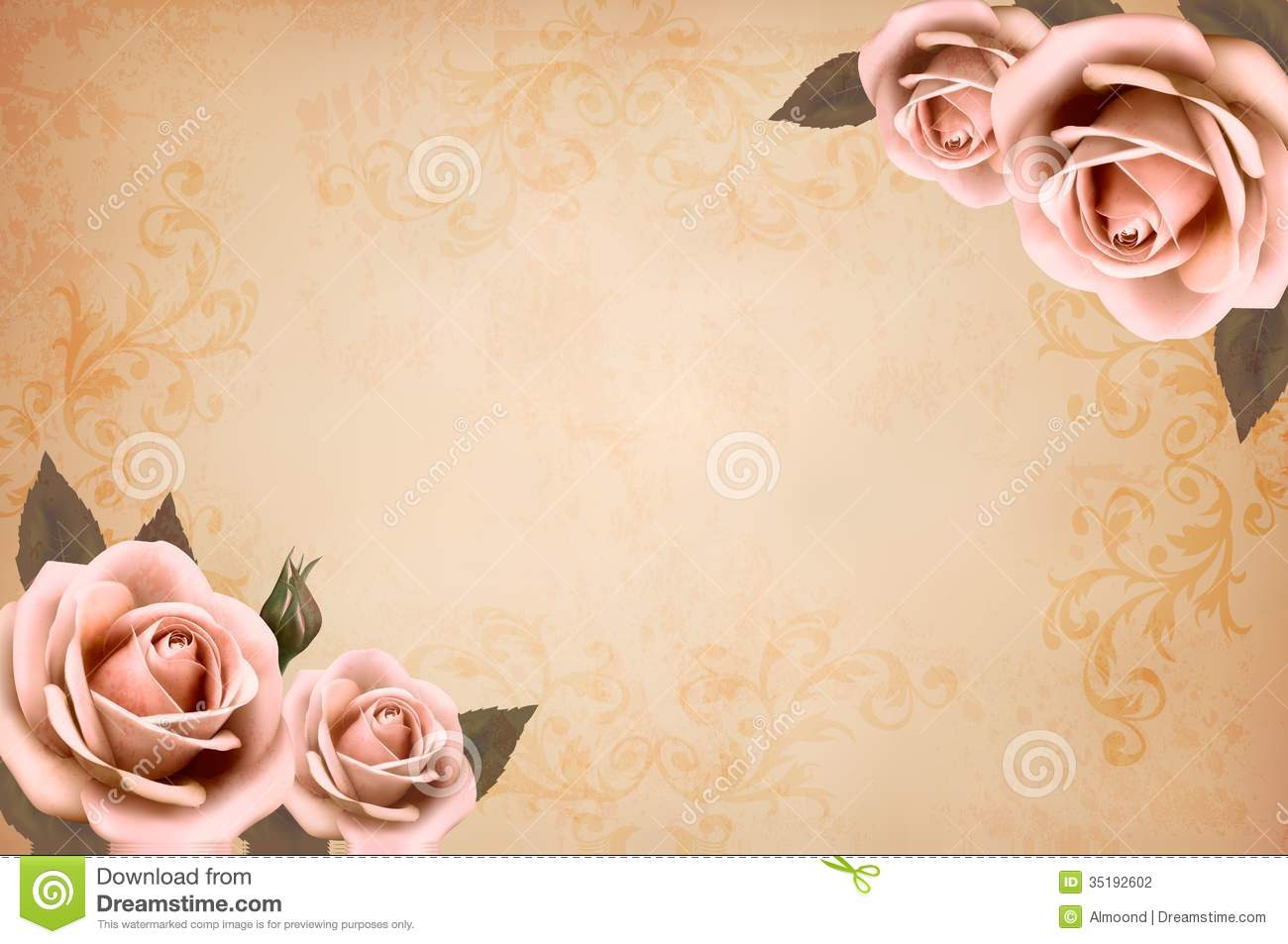 Pink Roses On A Vintage Old Paper Background Stock  -> Vintage Kommode Rosa
