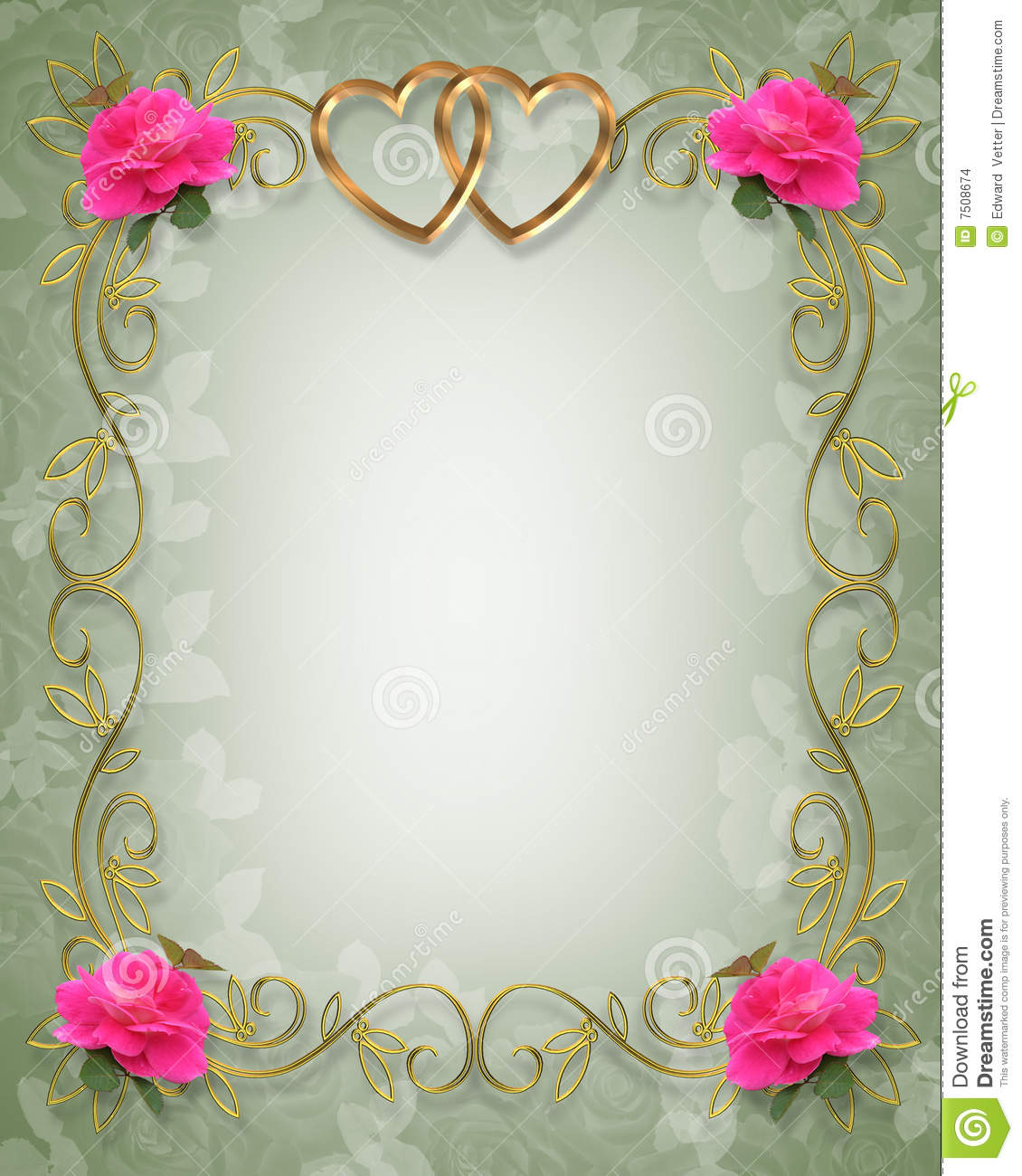 pink roses wedding border stock illustration illustration