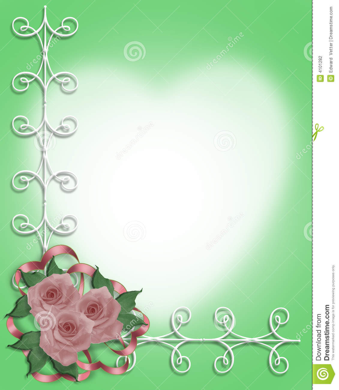 pink roses wedding or party border stock illustration