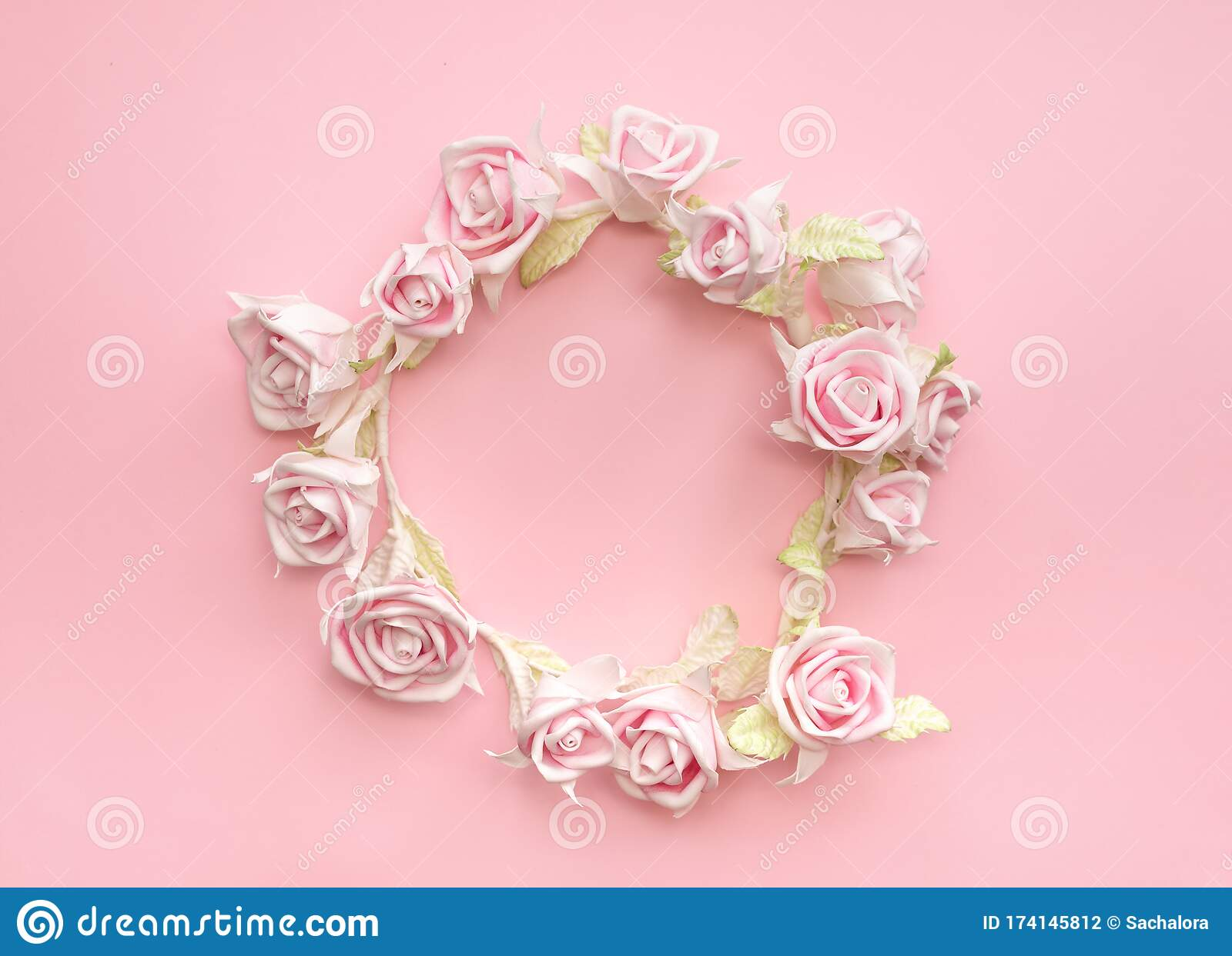 Pink Roses Wreath For A Girl And A Woman On Her Head On Pink For Beauty Stock Photo Image Of Branch Blossom 174145812