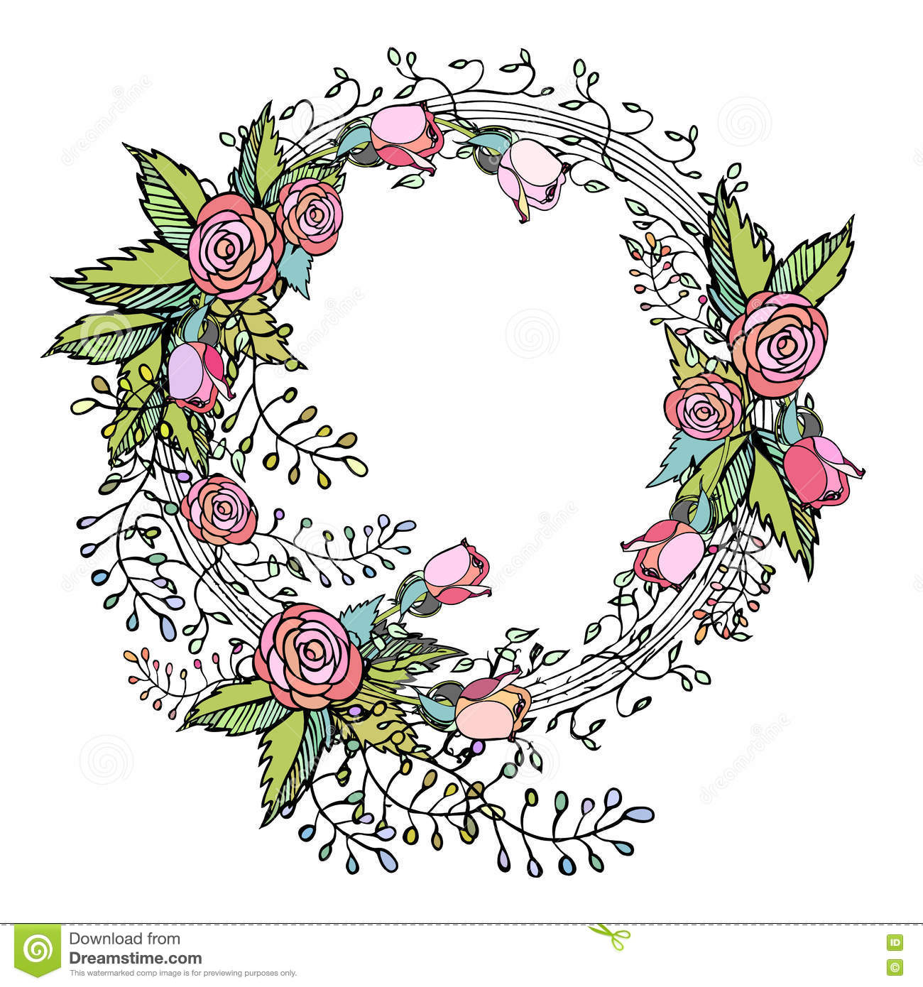 Pink roses on wreath in pretty hand drawn flower arrangement design pink roses on wreath in pretty hand drawn flower arrangement design mightylinksfo