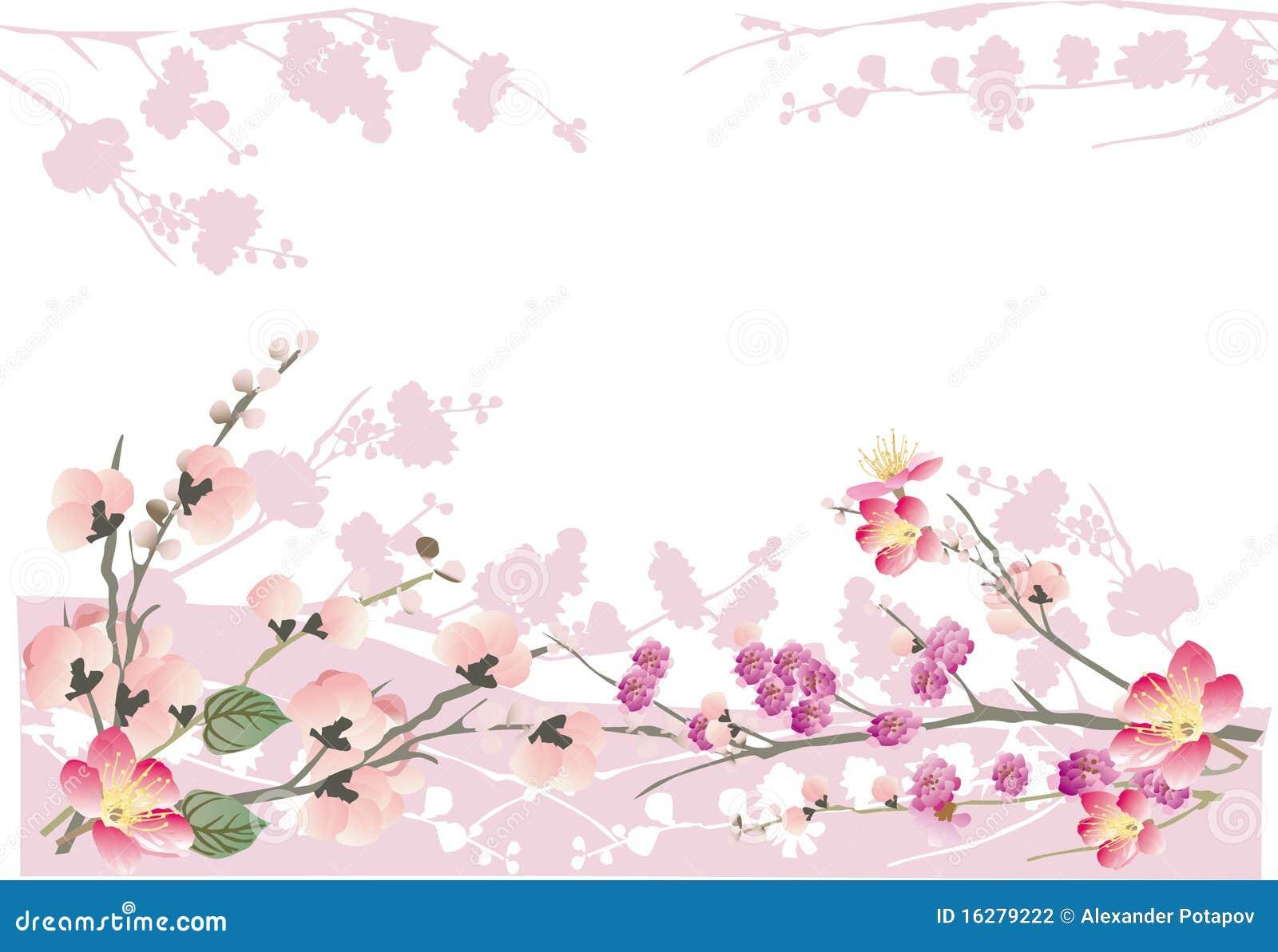 Grass Outline Vector Pink Sakura Frame On W...