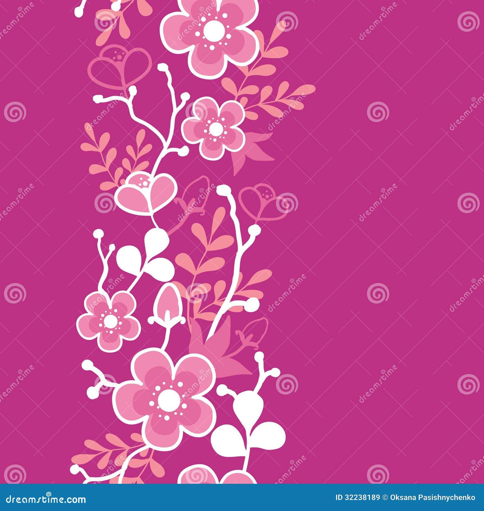 Vertical Flower Pattern Pink Sakura Kimono Blo...