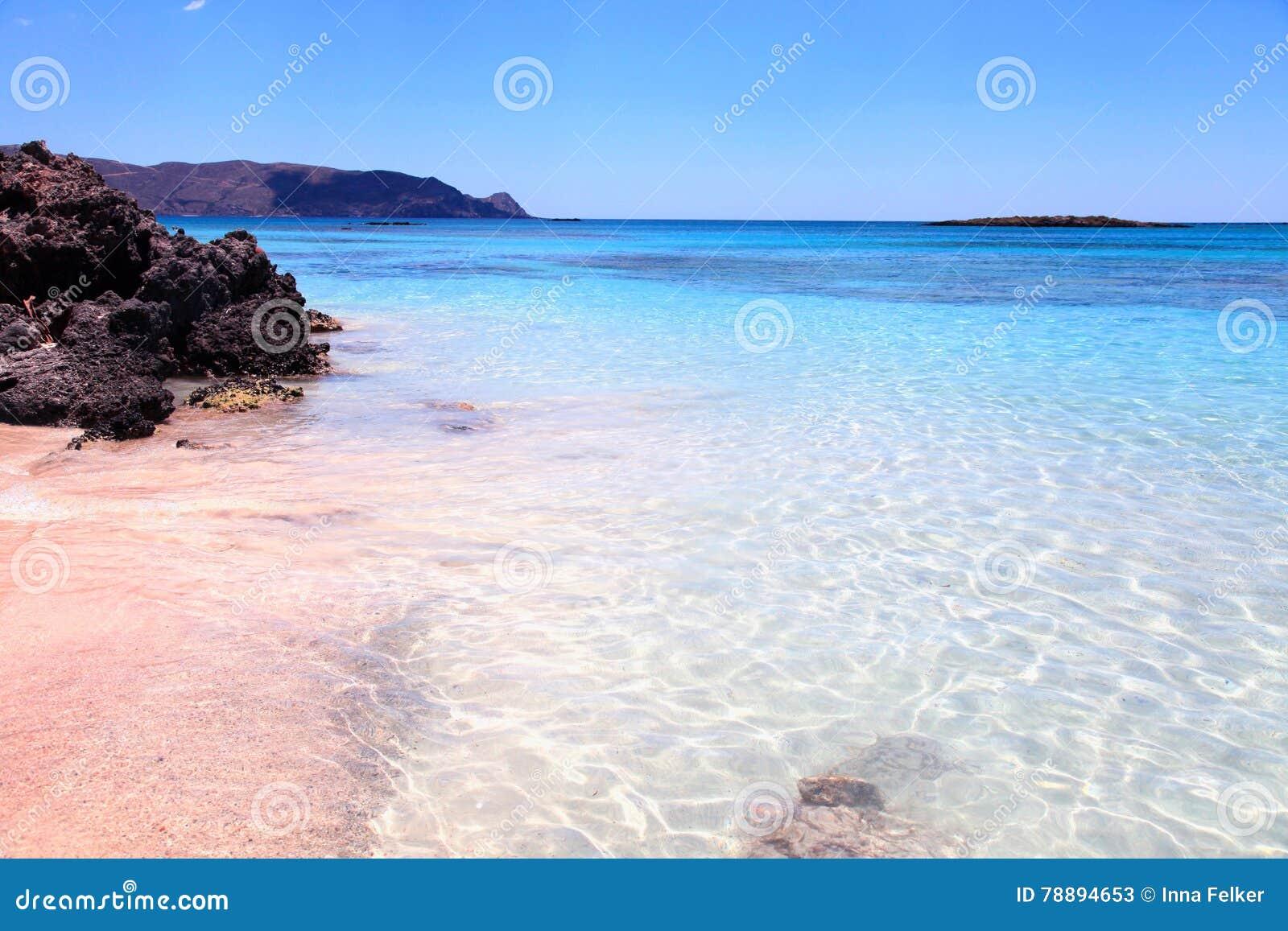 Pink Sand Beach Elafonisi, Crete Island, Greece. Stock ...