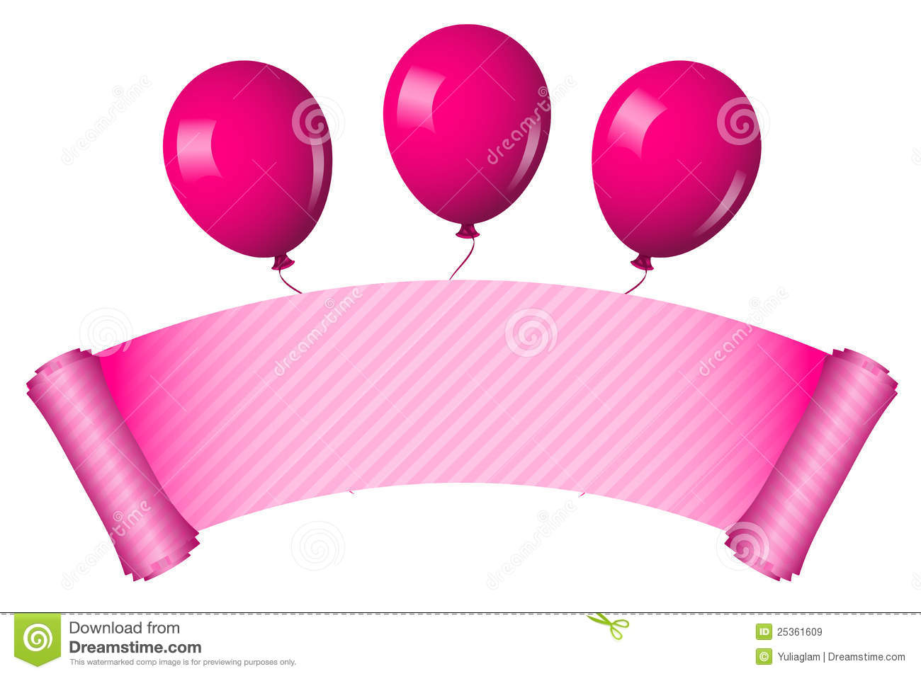 Pink scroll with balloons