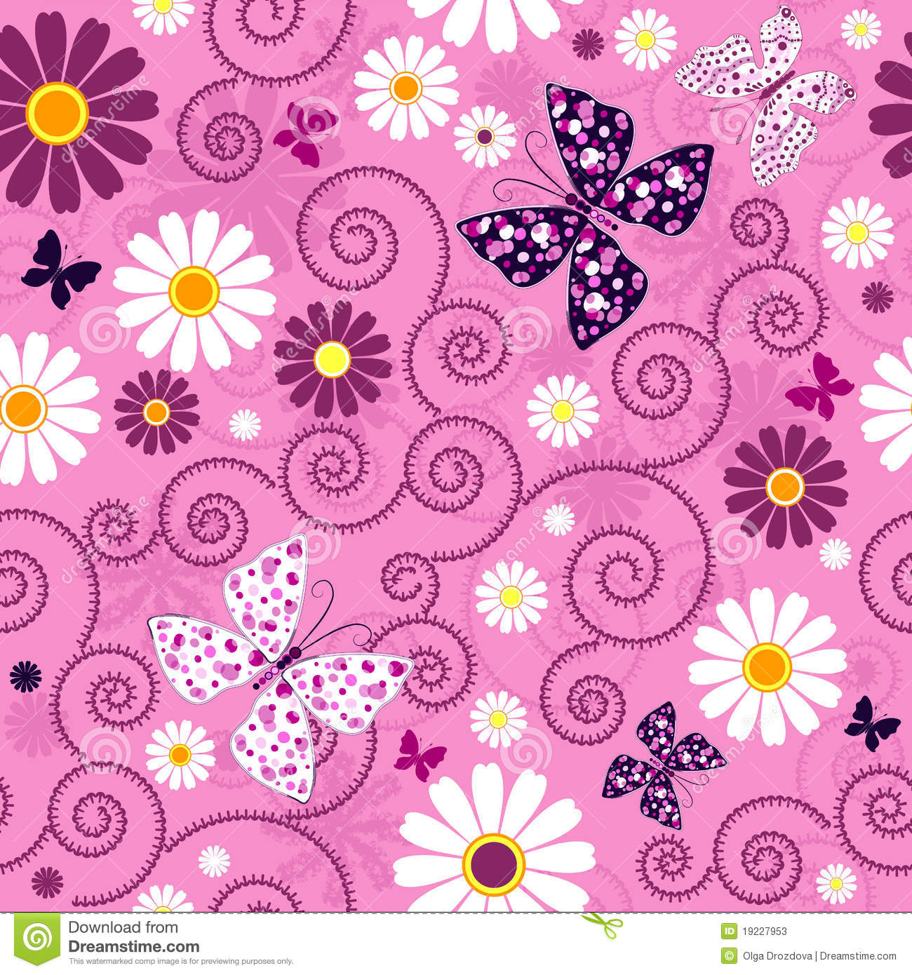 Seamless pink floral pattern - photo#2