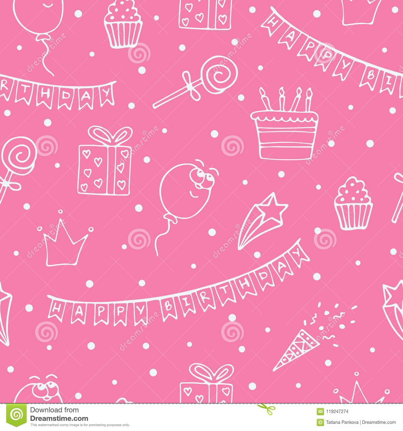 Pink seamless pattern for a birthday with white drawings