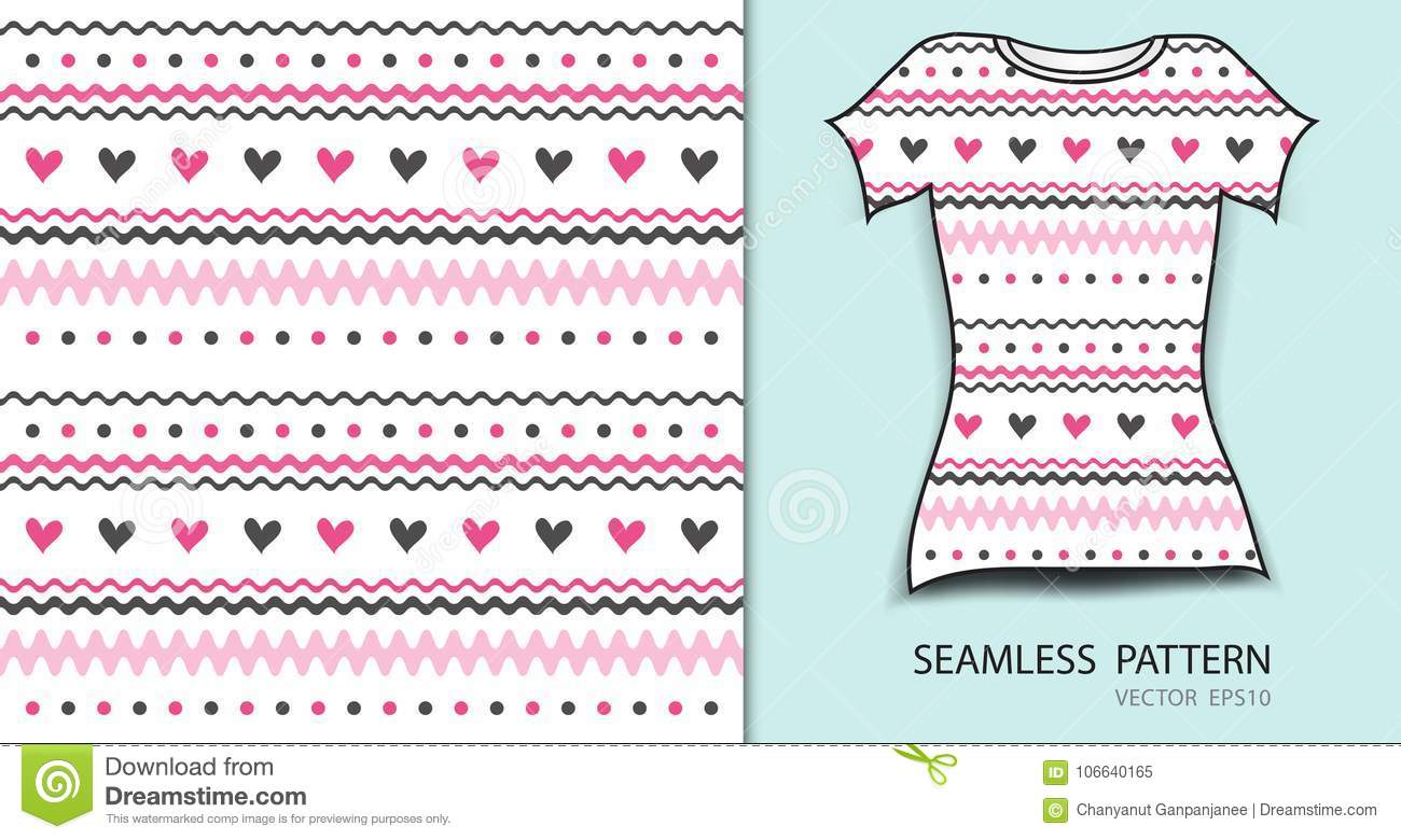 Pink seamless pattern vector illustration, t-shirt design, fabric texture, patterned clothing