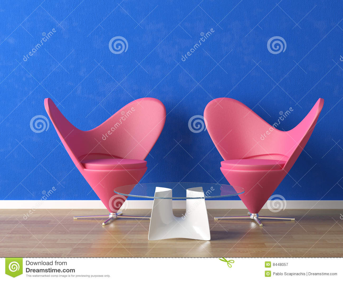 Pink seats on blue wall