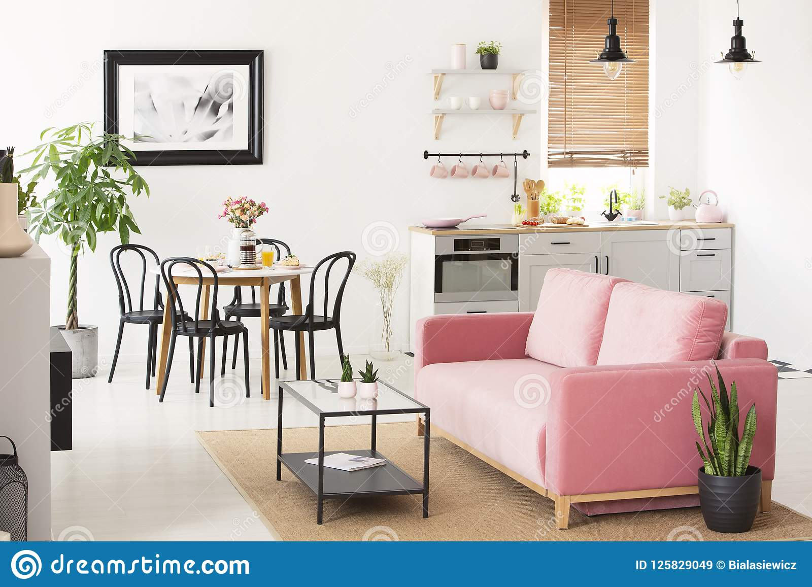 Dining Room Settee | Pink Settee Near Black Chairs At Dining Table In Flat Interior With