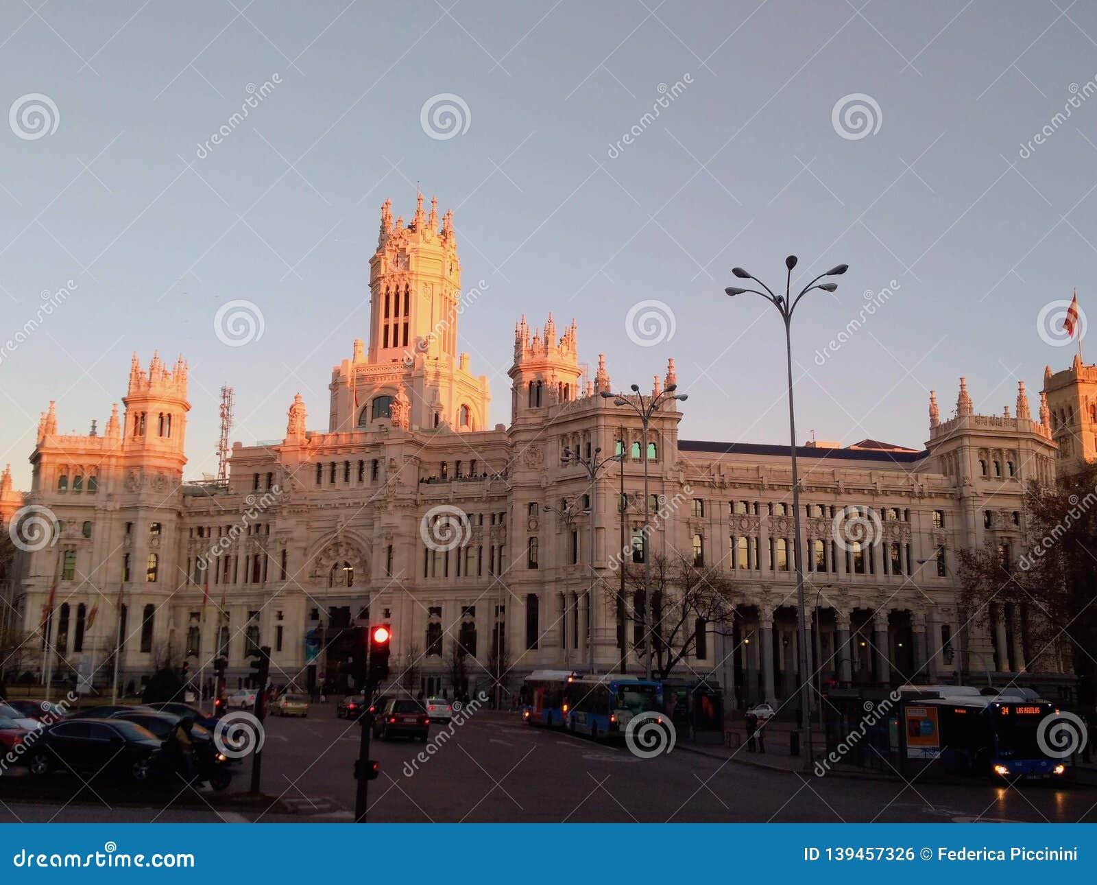 Pink Shades On Palacio De Cibeles Madrid Spain Editorial
