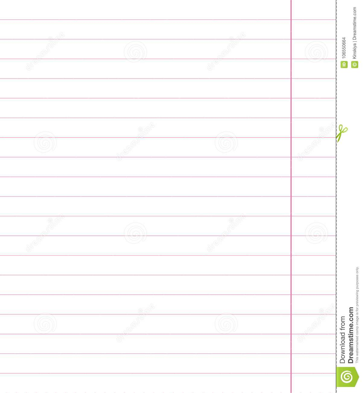 pink sheet with wide horizontal lines notebook school paper with