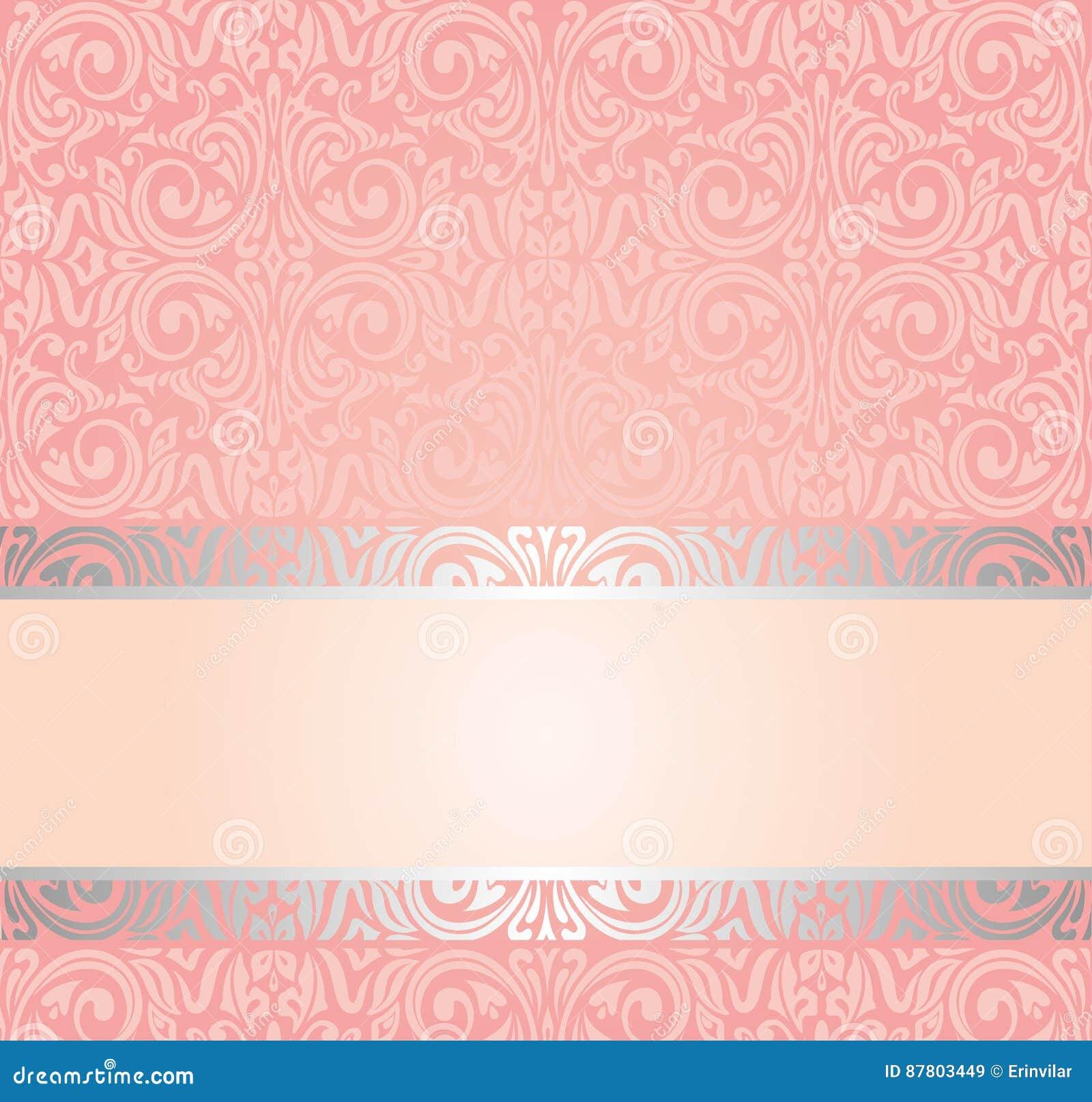 Pink silver gentle invitation vintage wallpaper design - Papel pared vintage ...