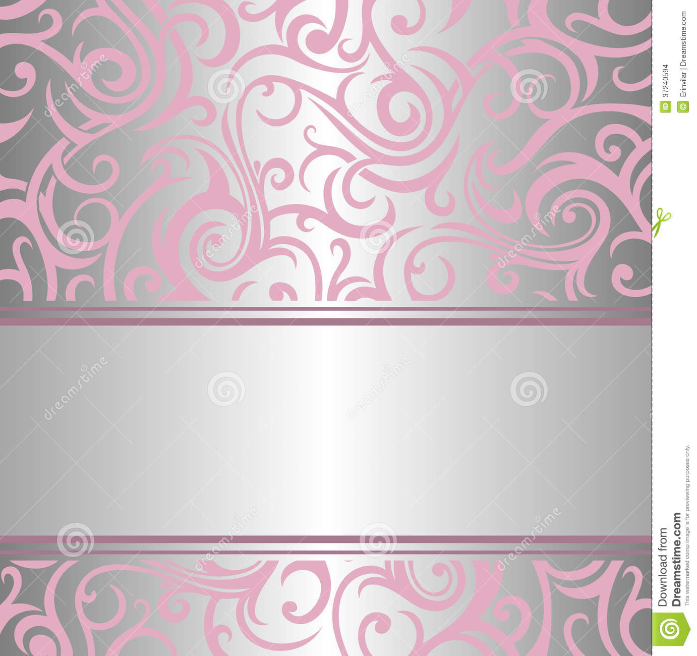Pink Amp Silver Invitation Design Stock Vector
