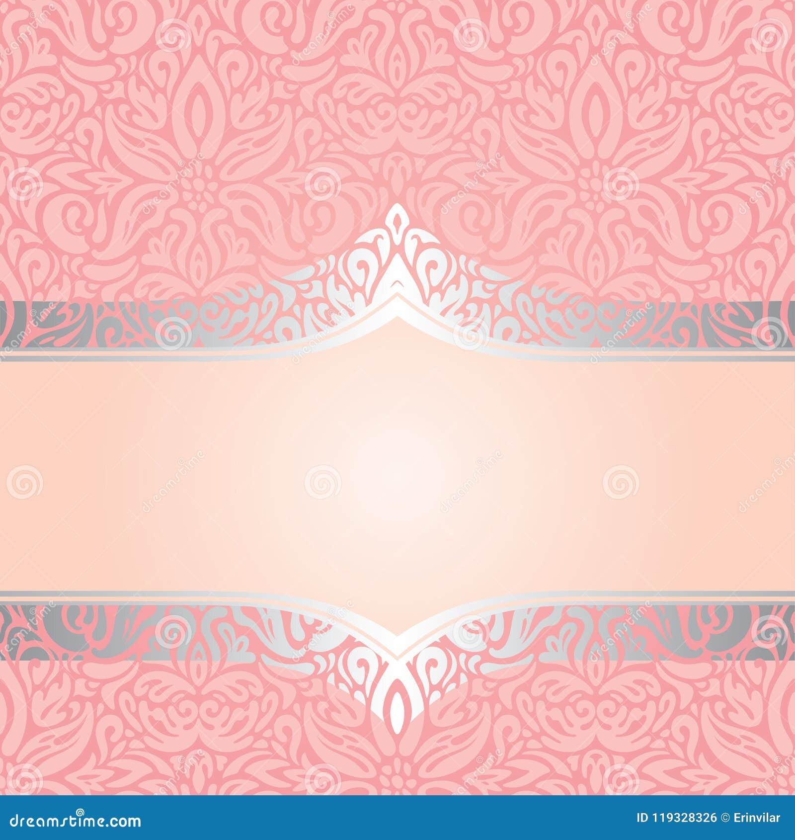 Pink Silver Retro Decorative Invitation Trendy Wallpaper