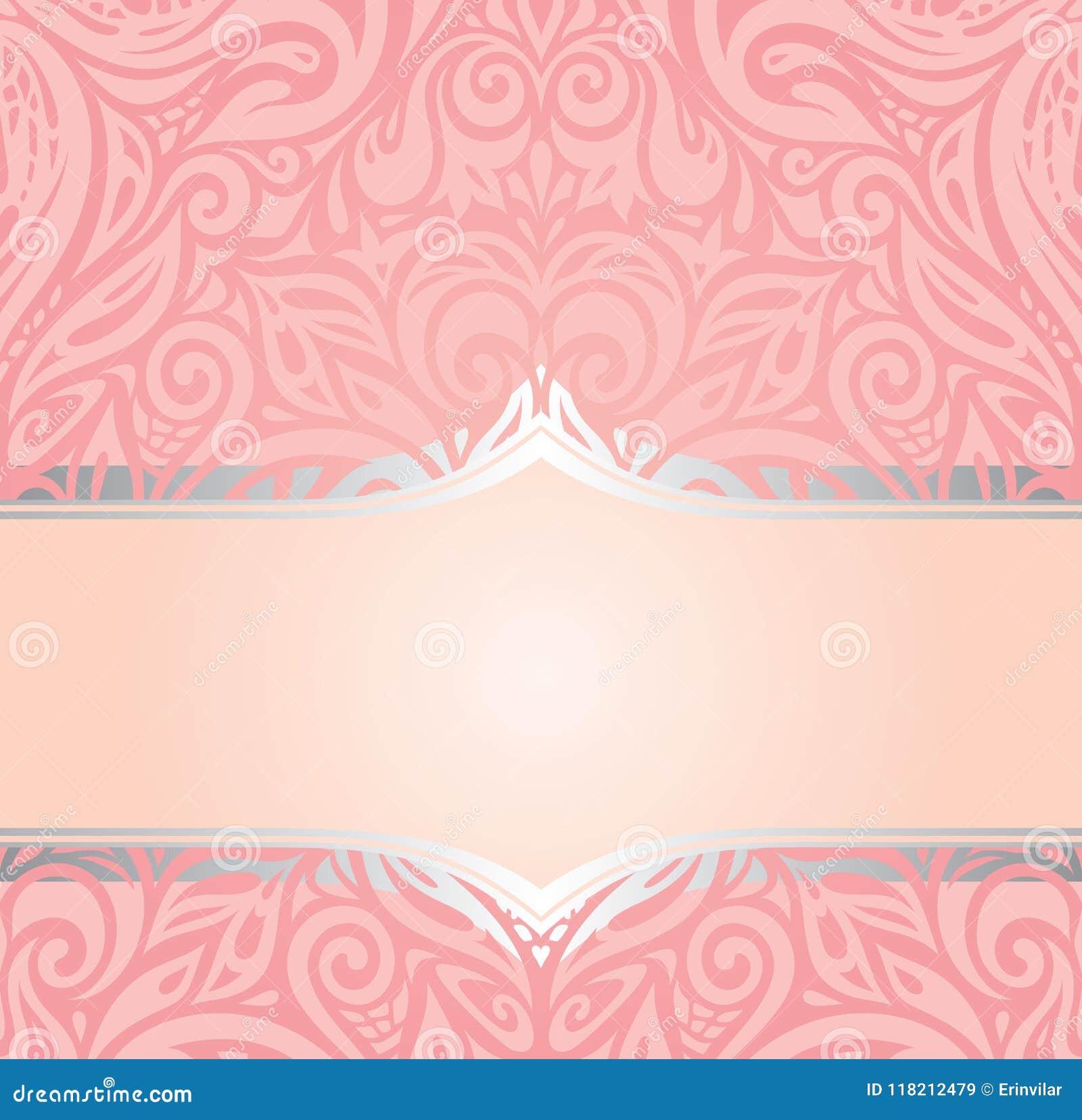 Pink Silver Retro Decorative Invitation Vintage Fashion Wallpaper Design