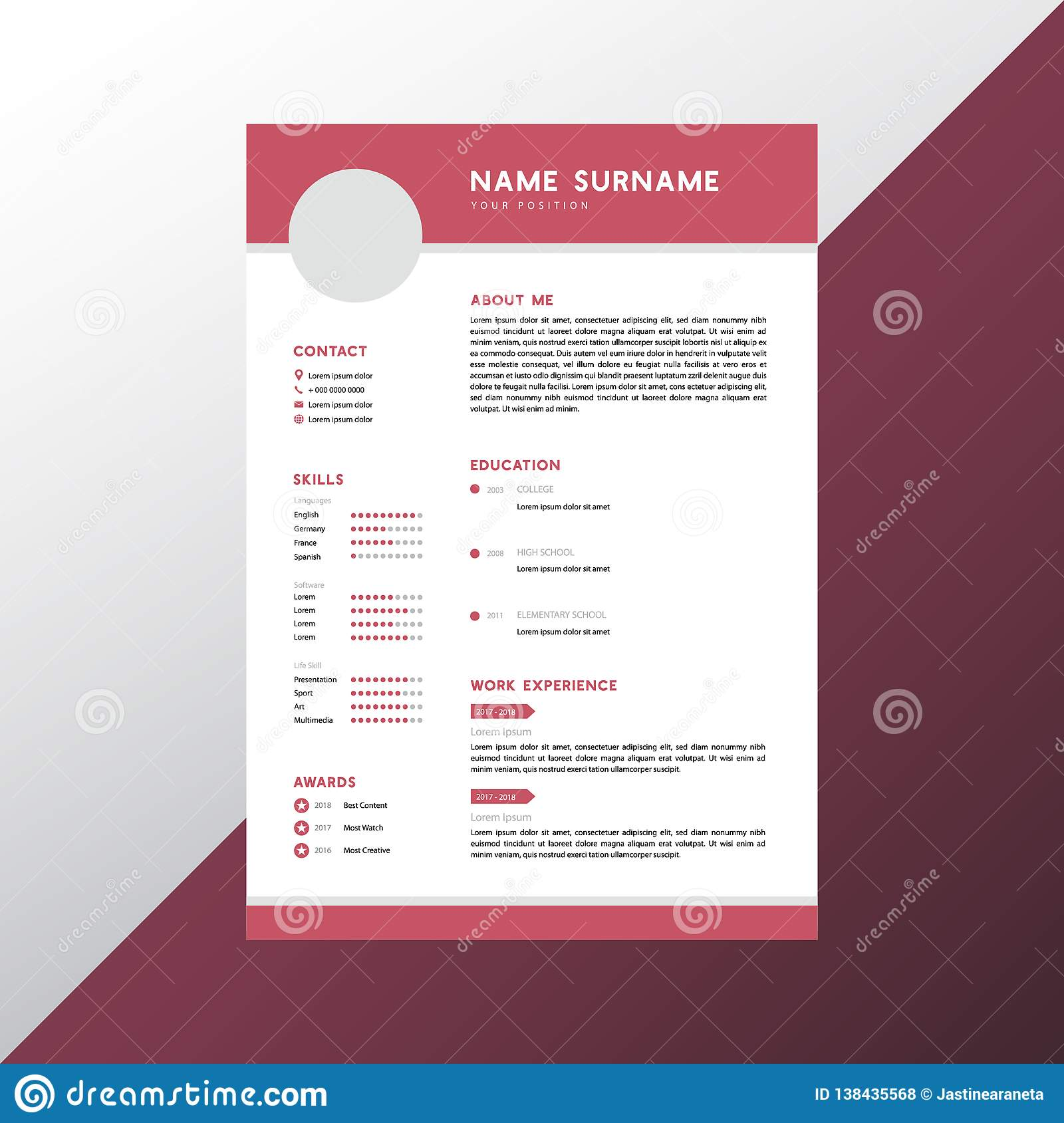 Simple Cv Design from thumbs.dreamstime.com