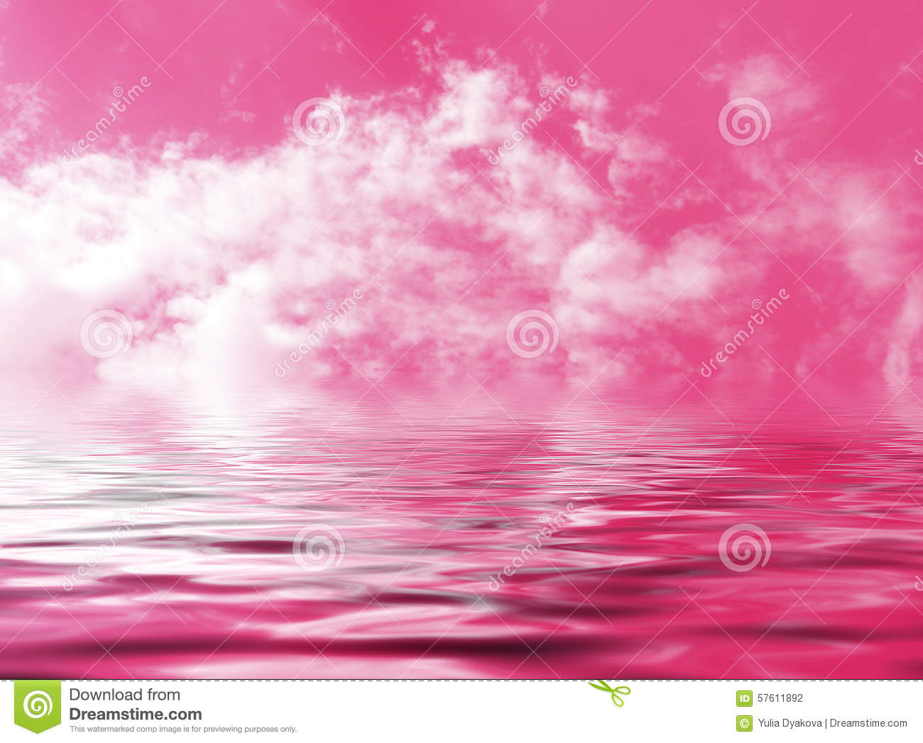 Pink sky with clouds reflected in the abstract fantasy water