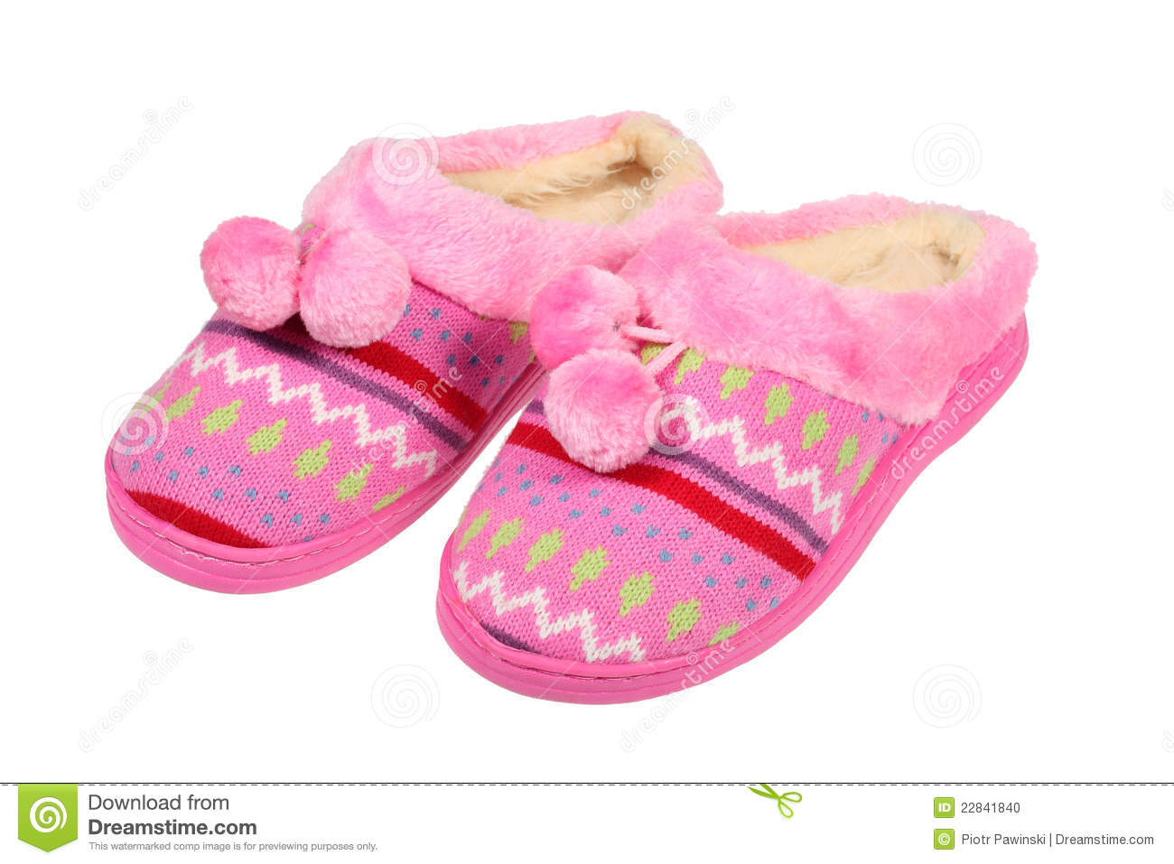 Pink slippers isolated over white with clipping path.
