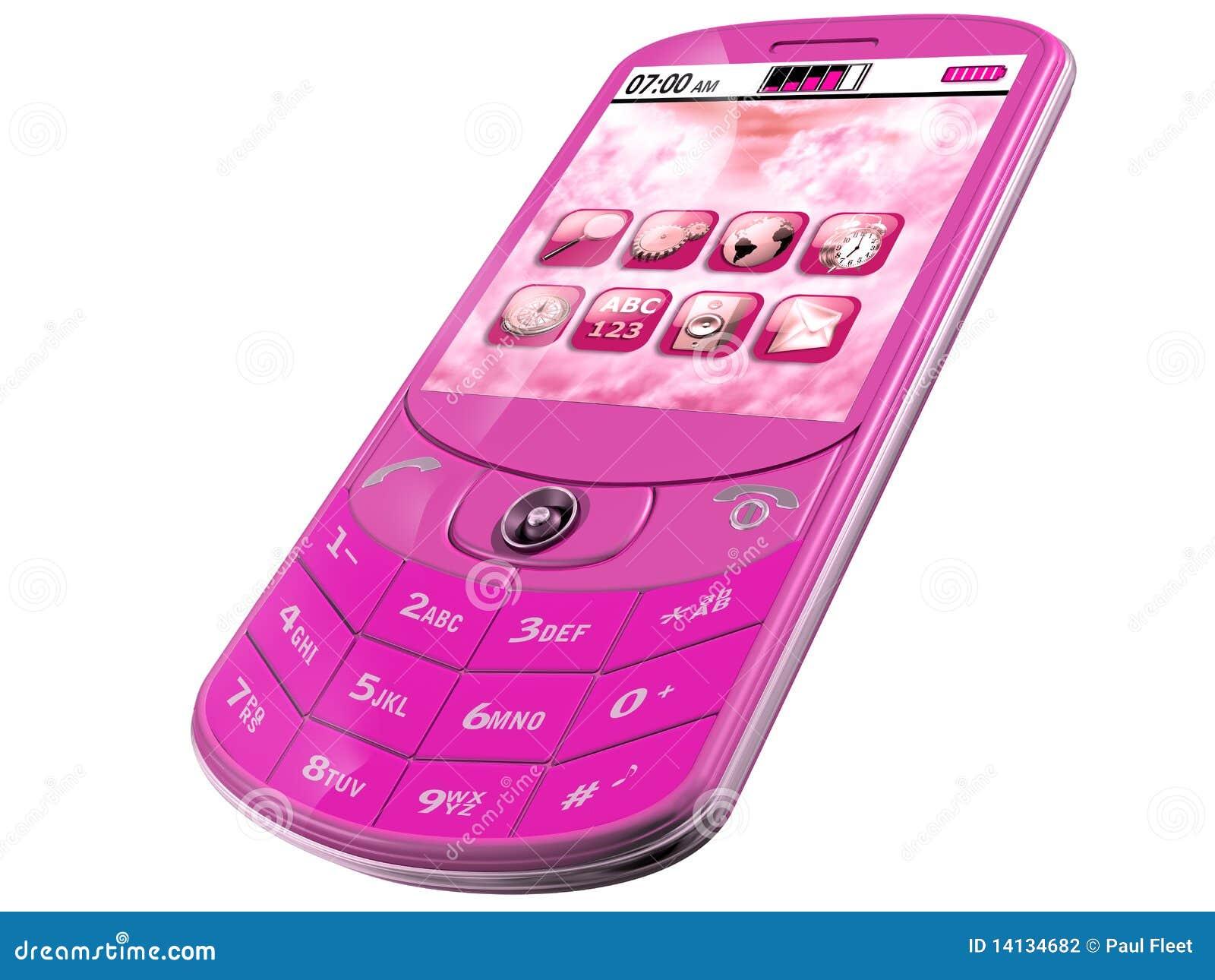 Pink Smartphone stock illustration. Image of technology ...