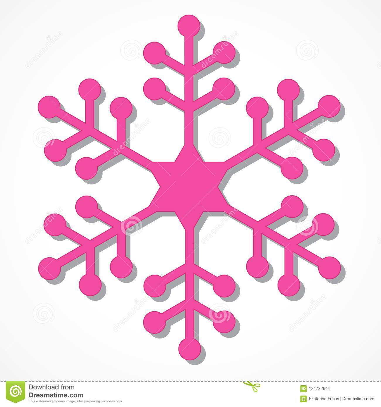 pink snowflake stock vector illustration of isolated 124732644