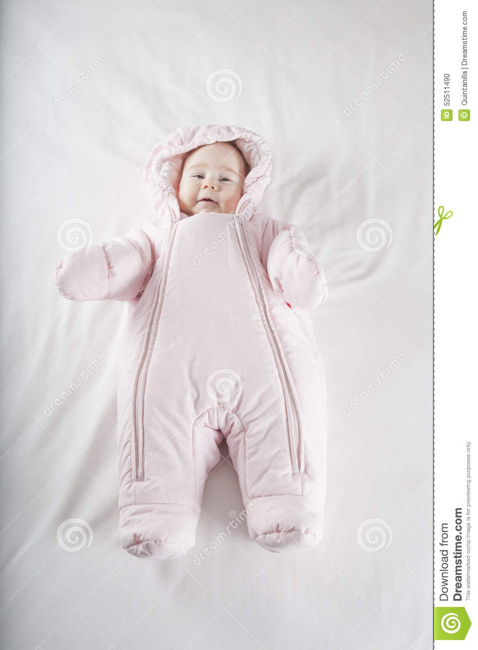 Pink Snowsuit Baby On Bed Stock Photo Image Of People