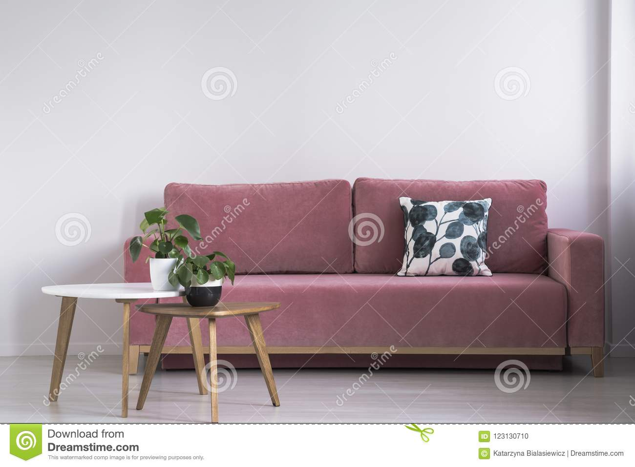 Pink Sofa With A Patterned Pillow And Two Coffee Tables With Plants On A  White Wall